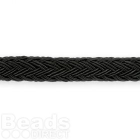 Black Polyester Braided Chunky Cord 8x10mm 1 Metre