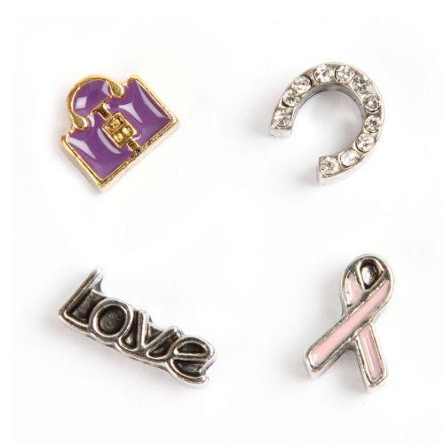 X-Horse Shoe, Lock, Love, Ribbon Small Floating Locket Charms Pk4