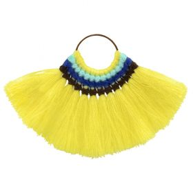 Yellow Cotton Fan Tassel Charm on Hoop 59x77mm Pk1