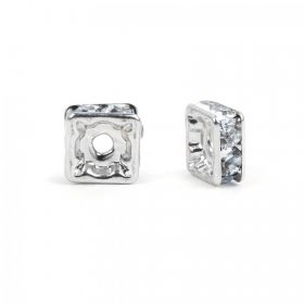 Silver Plated Squaradelle 6mm Spacer with Crystal Pack20