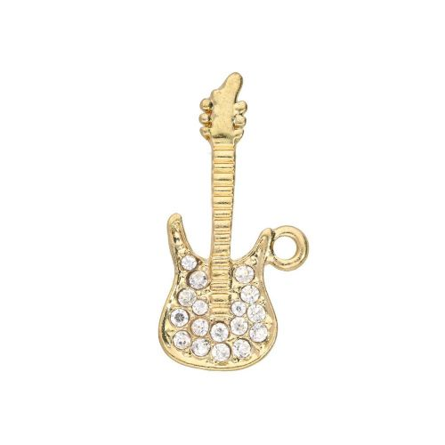 Glamm ™ Guitar / charm pendant / with zircons / 34x10x2mm / gold plated / 1pcs