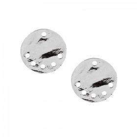 Silver Plated Small Flat Disk Charm with 5 Holes 15mm Pk2