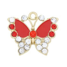 Glamm ™ Butterfly / charm pendant / with zircons / 19x22x3mm / gold plated / Siam Ruby / 1pcs