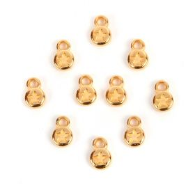 Gold Plated Zamak Small Round Star Coin Charm 6mm Pk10