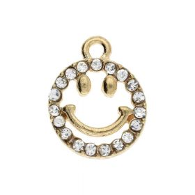 Glamm ™ Smile / charm pendant / with zircons / 15x12x2.5mm / gold plated / 1pcs