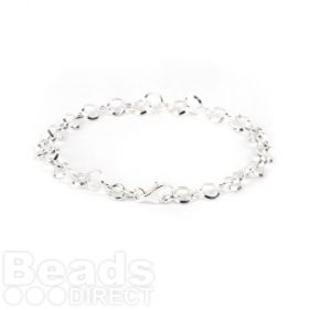 Sterling Silver 925 Round 5mm Bracelet Chain with Clasp 17.5cm