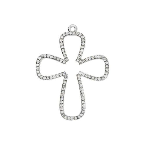 Glamm ™ Cross / charm pendant / with zircons / 38x29x2mm  / silver plated / 1pcs