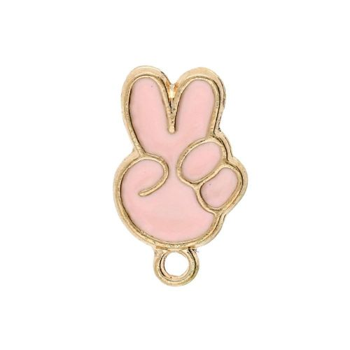 SweetCharm ™ Victory / charm pendant / 15x9.5x2mm / gold plated / pink / 2pcs