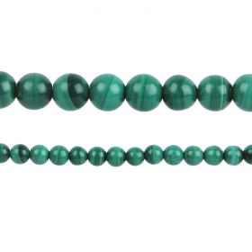 "Malachite Semi Precious A Grade Round Beads 8mm 15"" Strand"