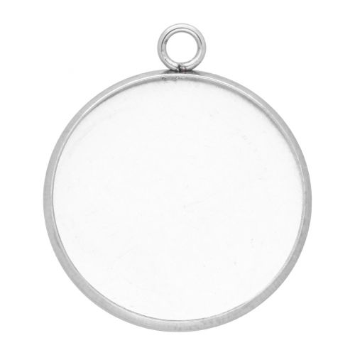 Pendant / round cabochon base 18mm / surgical steel / 23x19mm / silver / 2pcs