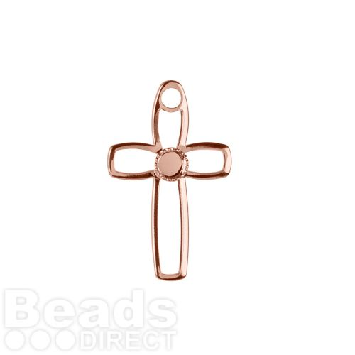 Rose Gold Plated Hollow Cross Charm Holds SS16 19x30mm Pk1