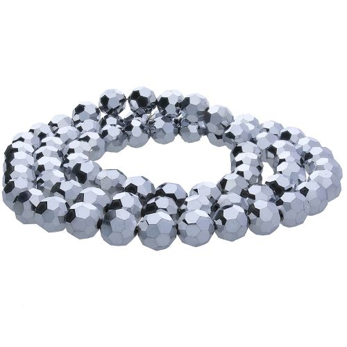 CrystaLove™ crystals / glass / round / 2mm / oxidised silver / lustered / 198pcs