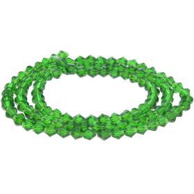 CrystaLove™ crystals / glass / bicone / 3mm / transparent green / 148pcs