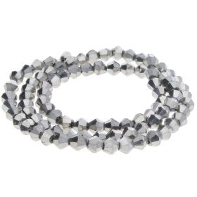 CrystaLove™ crystals / glass / bicone / 4mm / dark silver / lustered / 110pcs