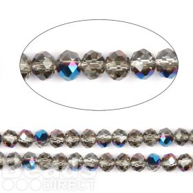"Cobalt 1/2 Coated Essential Crystal Faceted Rondelle Beads 6mm 16""Strand"