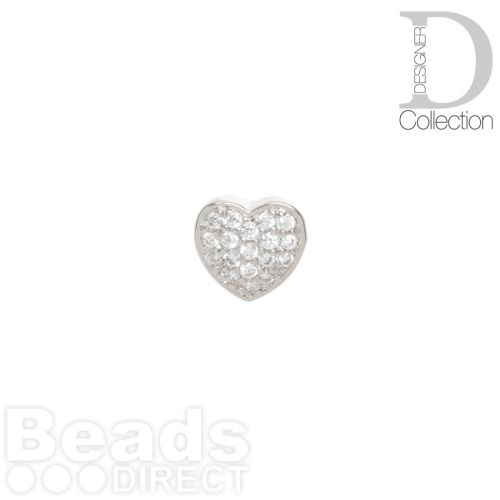 Rhodium Plated Heart Slider Bead Cubic Zirconia 8mm Hole 4x6mm Pk1