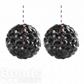 Black Premium Shamballa Fashion Half Drilled 10mm Round Beads Pk2