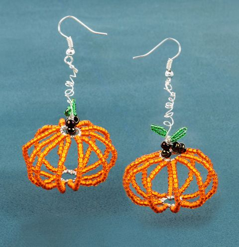 Seed Bead Pumpkin Earrings