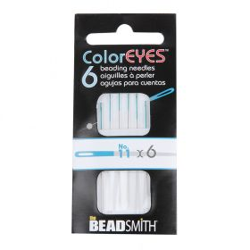 The Beadsmith ColorEYES Beading Needles Blue Size 11 Pk6