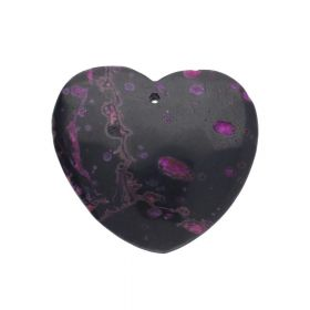 Ocean jasper / pendant / heart / 44x46x7mm / black-pink / 1pcs