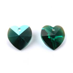 6202 Swarovski Crystal Heart Charm 10mm Emerald AB Pk2