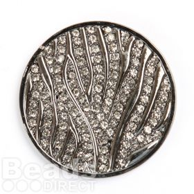 KB Rhodium Plated Clear Crystal Coin Disk for Interchangeable Locket 32mm Pk1
