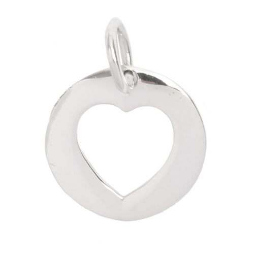 Sterling Silver 925 Cut Out Heart Coin Charm 12.5mm Pk1