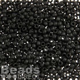 Toho Size 6 Round Seed Beads Opaque Frosted Jet 10g