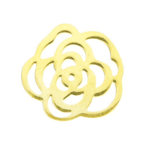 Rose / connector / surgical steel / 13x13x1mm / gold / 1pcs