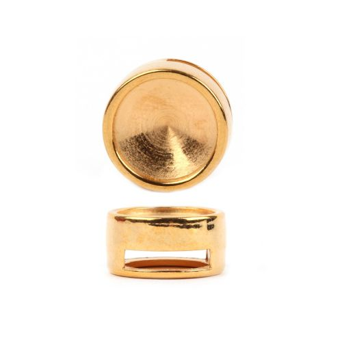 Gold Plated 12mm Rivoli Slider Bead 10x14mm Pk1