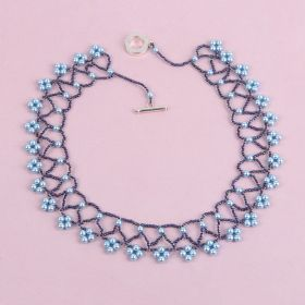 Blue Netted Collar Necklace made with Swarovski - Makes x1