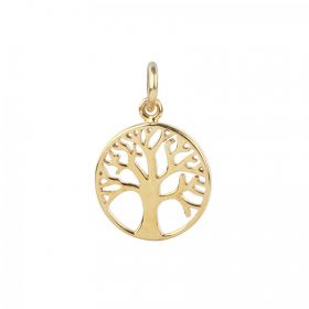 Gold Plated Sterling Silver 925 Small Tree Life Charm 12mm Pk1