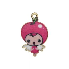 SweetCharm ™ Baby Girl / pendant charms / 23x14x1.5mm / gold plated / pink / 2pcs