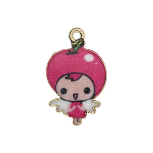 SweetCharm ™ Baby Girl / charm pendant / 23x14x1.5mm / gold plated / pink / 2pcs
