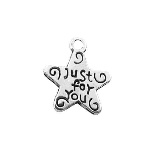 Star - Just for you / charm pendant / 13x11mm / silver / hole 1.4mm / 10pcs