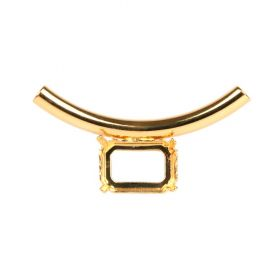 'Aura' Gold Plated Tube Bead For 18x13mm Crystal 17x50mm Pk1