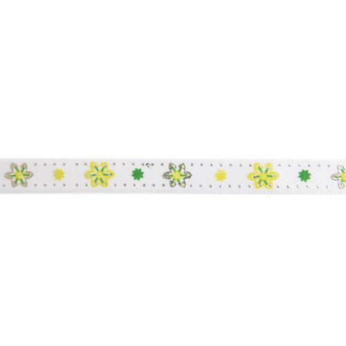 X-Green and White Flower Print Fancy Ribbon 10mm Pre Cut 1m Length