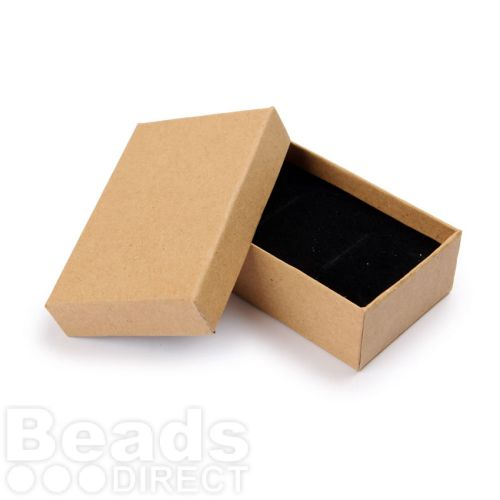 Brown Paper Small Rectangle Jewellery Box 8x5x2.5cm with Foam Pad Pk1