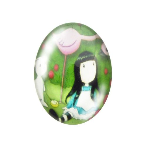 Glass cabochon with graphics oval 13x18mm PT1511 / green / 2pcs