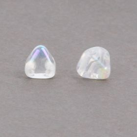 Preciosa Czech Glass Pyramid Twin Hole Clear AB 6mm Pk20