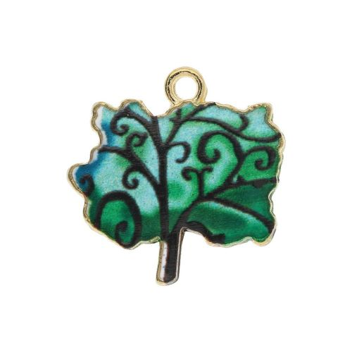 SweetCharm ™ Tree / charm pendant / 18x18x2mm / gold plated / green / 2pcs