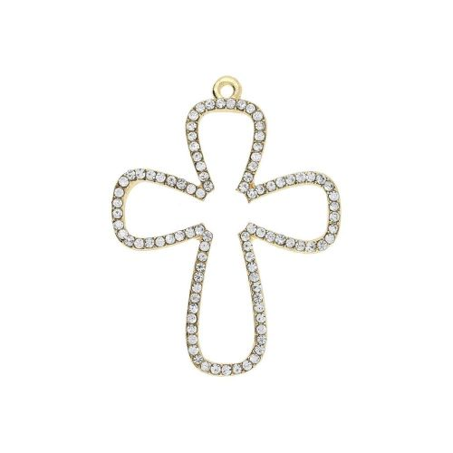 Glamm ™ Cross / charm pendant / with zircons / 38x29x2mm  / gold plated / 1pcs