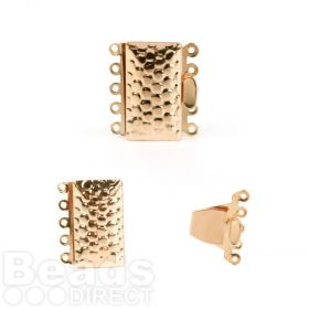 Gold Plated 5 Strand Box Clasp Dot Design 13x24mm Pk1