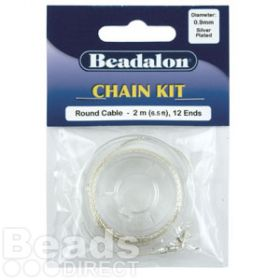 Beadalon Silver Plated Chain Kit 2metre with 12 Ends