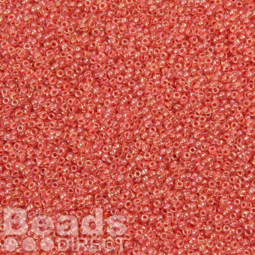 Toho Size 15 Round Seed Beads Salmon Lined Rainbow Crystal 10g