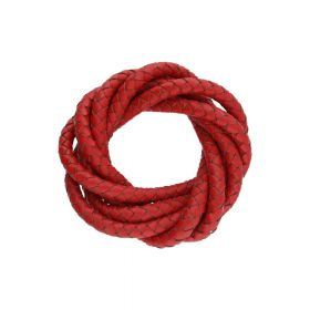 Leather cord / natural / round / braided / 5mm / red / 1m