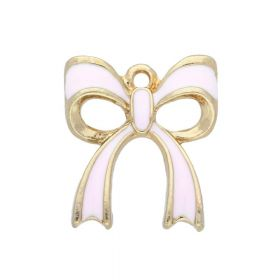 SweetCharm™ Bow / charms pendant / with cubic zirconia / 20x17x3mm / gold plated / pink/ 2pcs