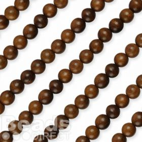 "Robles Round 8mm Natural Wood Beads 16"" Strand"