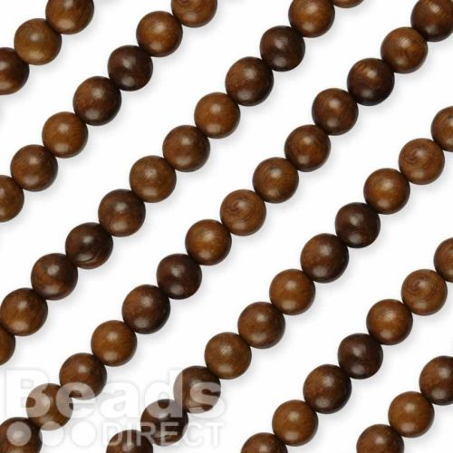 """Robles Round 8mm Natural Wood Beads 16"""" Strand"""