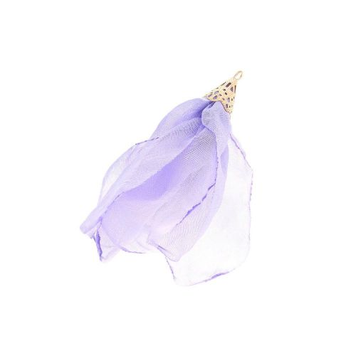 Chiffon flower / with openwork tip / 55mm / Gold Plated / lavender / 1pc